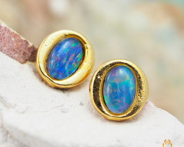Australian  Opal Triplet in Gold Plated  Earrings OPJ 2153