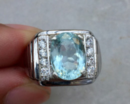 Beautiful Aquamarine 4.15 cts Transparent white Rhodium 925 Sterling silver