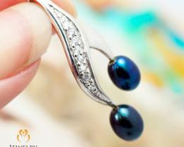 Stylish Black pearl Silver pendnat OPL2149