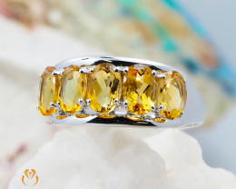 10K White Gold MODERN CLUSTER NATURAL CITRINE RING Size 7 - 67 - E R4509 24
