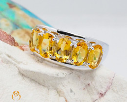 10K White Gold MODERN CLUSTER NATURAL CITRINE RING Size 8 - 67 - E R4509 24
