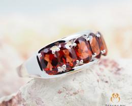 10K White Gold MODERN CLUSTER NATURAL GARNET RING Size 8 - 68 - E R4509 235