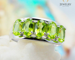 10K White Gold MODERN CLUSTER NATURAL PERIDOT RING Size 7 - 69 - E R4509 23