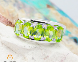 10K White Gold MODERN CLUSTER NATURAL PERIDOT RING Size 8 - 69 - E R4509 23