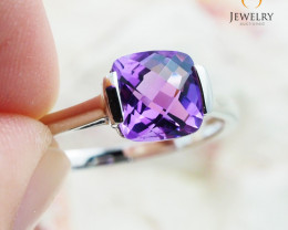 10K White Gold STYLISH NATURAL AMETHYST RING Size 8 - 70 - E R2626 1500