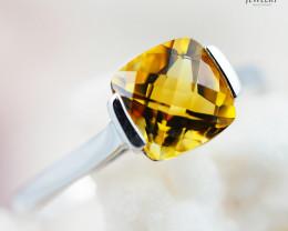 10K White Gold STYLISH CITRINE RING Size 7 - 72 - E R2626 1450