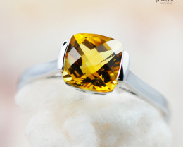 10K White Gold STYLISH NATURAL CITRINE RING Size 8 - 72 - E R2626 1450