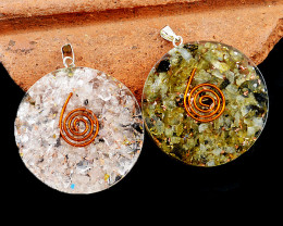 Rose Quartz & Moonstone Orgone Pendant Set