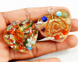Mix Gem & Seven Chakra Orgone Heart Pendant Set