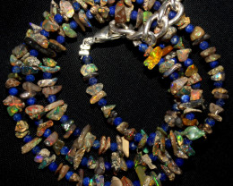 29 Crt Natural Ethiopian Welo Uncut Smoked Opal & Lapis Lazuli Necklace 7