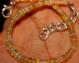 11 Crt Natural Ethiopian Welo Fire Opal Beads Bracelet 517
