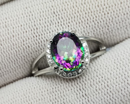 Mystic Topaz 17.65 Carats 925 Silver Ring