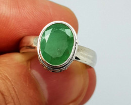 Natural Green Emerald 25 Carats 925 Silver Ring