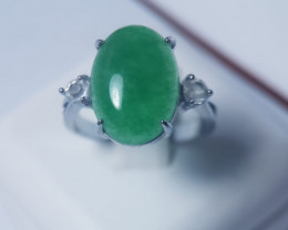 Natural Green Agaite Stainless Steel Ring With Cubic Zirconia