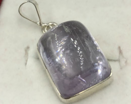 Natural Kunzite Cabochon 925 Silver Pendant From Kunar Afghanistan.