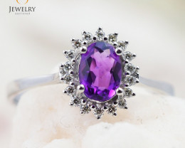 10K White Gold NATURAL AMETHYST & DIAMOND RING Size 7 -75 - E R8885 3650
