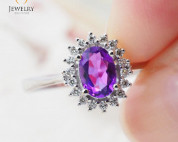 10K White Gold NATURAL AMETHYST & DIAMOND RING Size 8 -75 - E R8885 3650