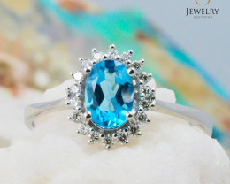 10K White Gold BLUE TOPAZ & DIAMOND RING Size 7 - 76 - E R8885 3650