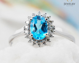 10K White Gold BLUE TOPAZ & DIAMOND RING Size 8 - 76 - E R8885 3650
