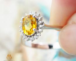 10K White Gold NATURAL CITRINE & DIAMOND RING Size 8 - 77 - E R8885 3600