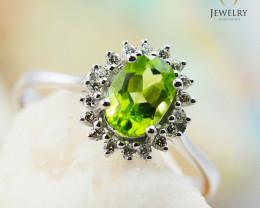 10K White Gold NATURAL PERIDOT & DIAMOND RING Size 8 - 79 - E R8885 3650