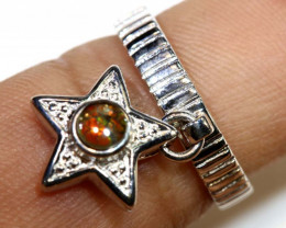 16 CTS BRIGHT AMMOLITE HANGING RING 5.5 SIZE TBJ-365