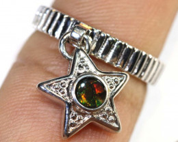 16 CTS BRIGHT AMMOLITE HANGING RING 5.5 SIZE TBJ-366