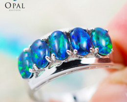 Gem Quality Triplets 10K White Gold Opal Ring - OPJ 2155