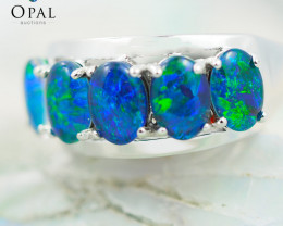 Gem Quality Triplets 10K White Gold Opal Ring - OPJ 2156