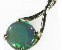 18K White gold with solid Black opal ,green fre CF976