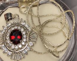 Natural Rhodolite Garnet 925 Silver Necklace .