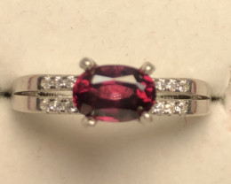 Natural Rhodolite Garnet 925 Silver Ring