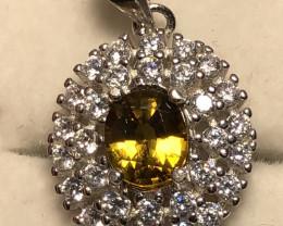 Natural Mali Garnet 925 Silver Necklace .