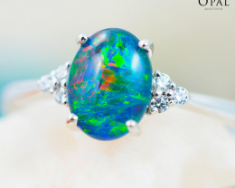 Opal Triplet set in Silver Ring size 6.5  - 4 - OPJ 2164