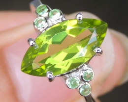 3.07cts Peridot  with Tsavorite in Silver