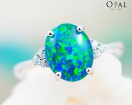 Opal Triplet set in Silver Ring size 6.0 - 5 - OPJ 2173
