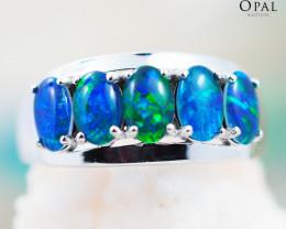 Opal Triplet set in Silver Ring size 7 - OPJ 2179