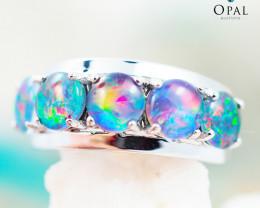 Opal Triplet set in Silver Ring size 7 - OPJ 2184