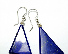 Amazing Natural color  lovely Lapis Lazuli Earring  with Sliver 48.10Cts-Af