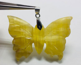 96.10 Ct Of Natural Butter Fly Shape Calcite Pendent