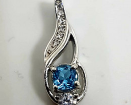Natural Sky Blue Topaz Silver Pendant With Cubic Zirconia