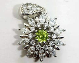 Natural Green Peridot Silver Pendant With Cubic Zirconia