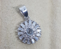 Natural Sky Blue Topaz Cabochon Silver Pendant With Cubic Zirconia