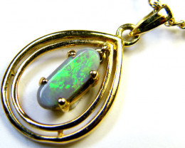 GREEN FIRE BLACK OPAL 18K GOLD PENDANT MY 927