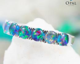 Opal Triplet set in Silver Ring size 7.0 - 10 - OPJ 2185