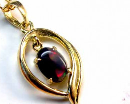Fireflash Solid Black Opal Yellow Gold Pendant SCO154