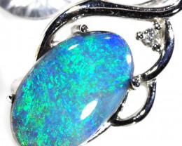 DIAMOND DOUBLET OPAL PENDANT 18 K WHITE GOLD CK 410