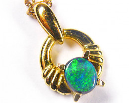 GORGEOUS GREEN AND BLUE FIRE FUSION 18K OPAL PENDANT SCO260