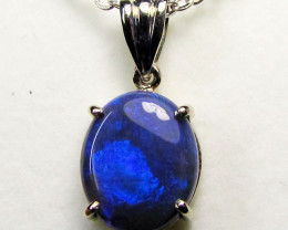 NICE BLUE  BLACK OPAL 18 KWHITE GOLD PENDANT CK 94