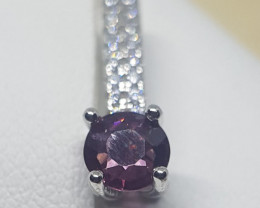 Natural Untreated Burma Spinel Silver Pendant With Cubic Zirconia